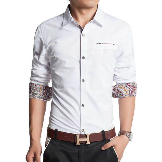 2016 Four Seasons new men cotton long sleeve shirt luxury mens clothing brands white dress shirt fashion men shirt slim fit