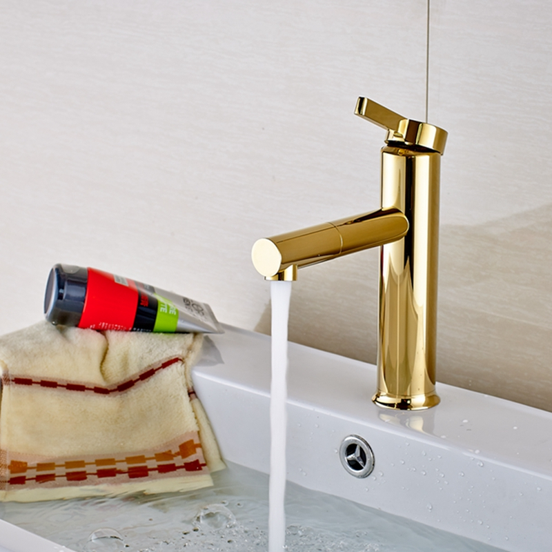 Deck Mount Golden Brass Bathroom Basin Faucet Single Handle Hole Sink Mixer Tap newly modern simple bathroom waterfall widespread basin sink faucet chrome polish single handle single hole mixer tap deck mount