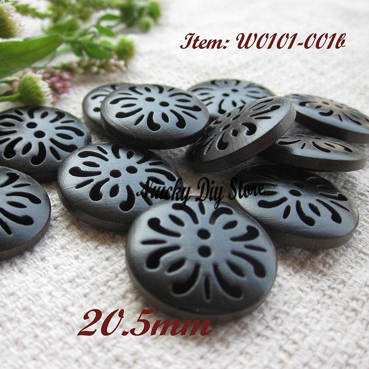 f663173d0fb Boutique bois boutons 21mm foncé café creux sculpté chrysanthème en bois  boutons pour Haute qualité vêtements accessoires