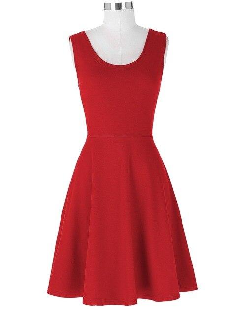 Slim Fit Casual Solid Color Sleeveless Dress 2017 Elegant Black Blue Retro Vestidos Casual Swing Robe Rockabilly 60s Dresses