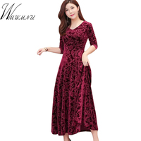 High Quality Velet Bodycon Long Dresses For Women Elegant V Neck Party Dress 2018 Plus Size 4XL Long Sleeve Autumn Winter Dress