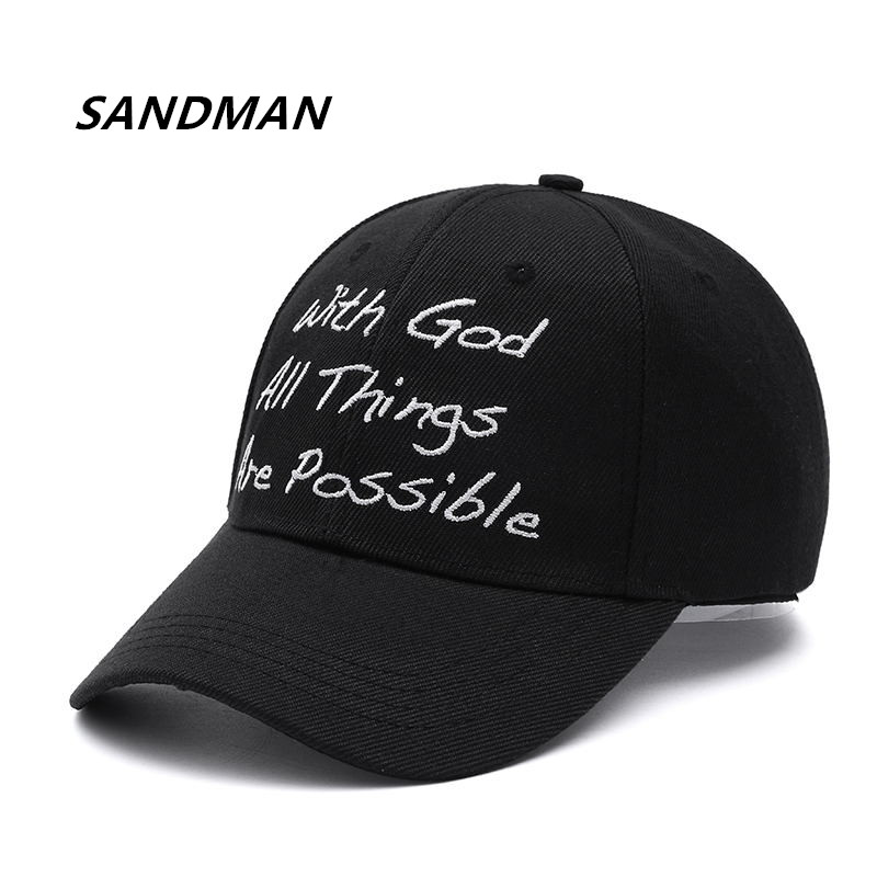 High Quality Solid   Baseball     Cap   With God All Things Are Possible Jesus Snapback   Cap   For Men Women Hip Hop   Cap   Dad Hat Bone