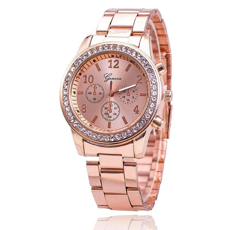 2018 Faux Chronograph Quartz Classic Round Ladies Women Crystals Watch Womens Wrist Hodinky Gifts Relogio Feminino Clock