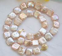 Free Shipping Hot Sale 12mm NATURE Pink Square Coin Freshwater Pearl Necklace 16inch