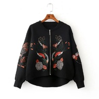 VANLED Korean Cardigan For Women Short Wool Knit Women S Sweater 2017 Autumn Zipper Floral Embroidered