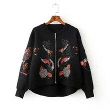 Korean Cardigan For Women Short Wool Knit Women'S Sweater 2017 Autumn Zipper Floral Embroidered Baseball Knitwear Jacket