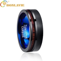 Valentine's Day Finger Classic Ring electroplated black inlaid acacia half frosted tungsten ring man's Wedding Fine Jewelry