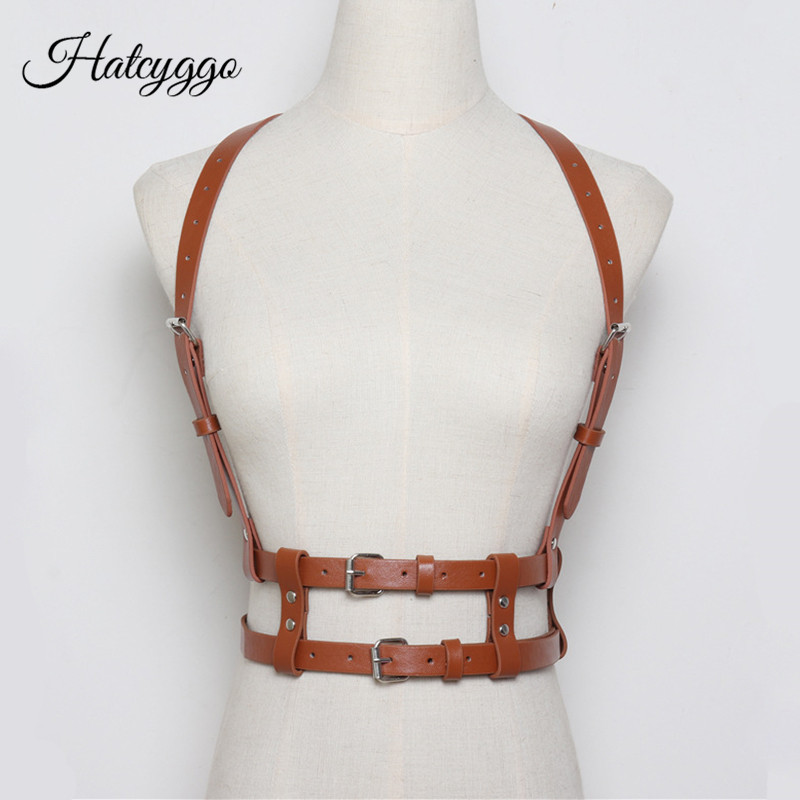 HATCYGGO Women Sexy Belts Fashion Punk Harajuku Faux Leather Straps Suspenders Belt Bondage Cage Sculpting Harness Waist Band