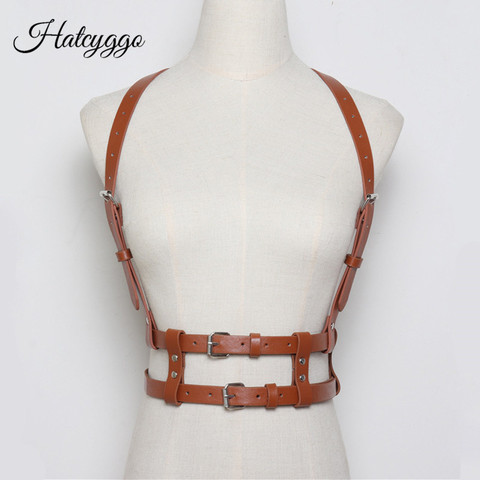 HATCYGGO Women Sexy Belts Fashion Punk Harajuku Faux Leather Straps Suspenders Belt Bondage Cage Sculpting Harness Waist Band Pakistan