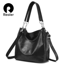 REALER genuine leather handbags female large messenger bag women shoulder bags fashion ladies top handle bags