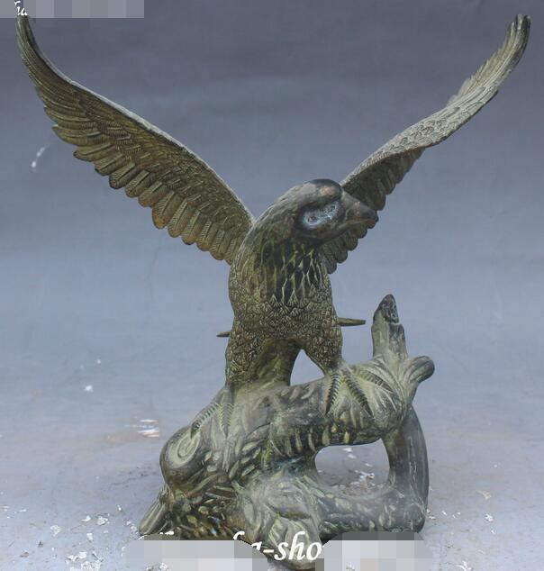 9 Marked Old Chinese Fengshui Bronze Folk Fly Eagle Hawk Bird Open Wigs Statue9 Marked Old Chinese Fengshui Bronze Folk Fly Eagle Hawk Bird Open Wigs Statue