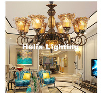 European Anti Brass Color Chandelier Lamp 5 6 8 10 Heads Lights Modern Decora Glass Lamp