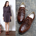 High quality British style Ladies' shoes fashion Tassel  Deep mouth Brogue Shoes Single shoes Retro casual flat shoes 1/3