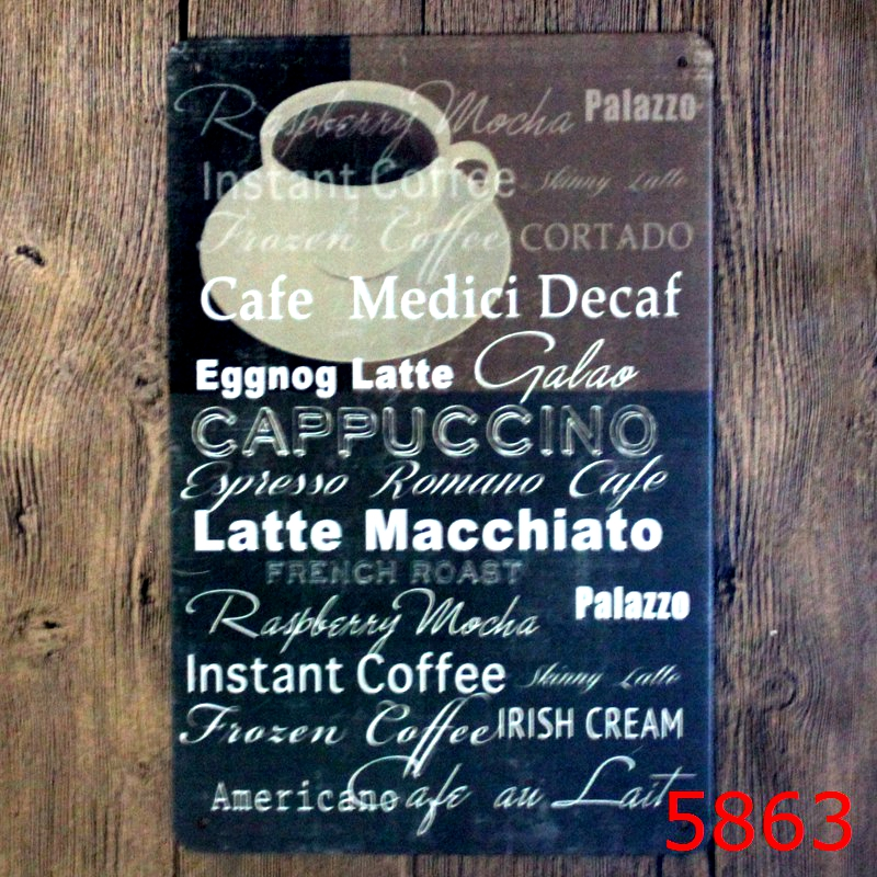 Cafe medici decaf Printing Wall Sticker Metal Tin Sign Iron Antique Tin Painting House DECOR Coffee Shop Sticker 20X30CM image