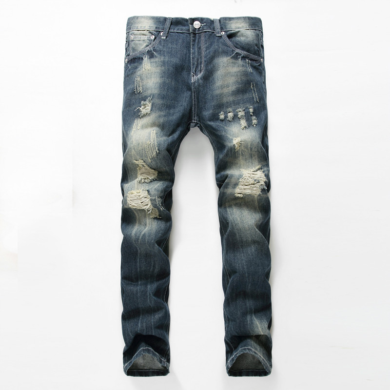 NEW Jeans Men Ripped Jeans Fashion Brand Rap mens Printed Scratched Biker Jeans Hole Denim Straight Slim Fit Casual Pants 2016 new mix brand slim straight jeans men skinny wash retro old ripped jeans mens casual denim trousers biker jeans mens zipper