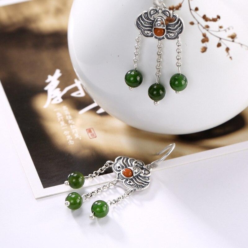 Brinco Promotion 2018 100 925 Pure Inlay Hetian Jade Natural Restoring Ancient Ways Bead South Lady
