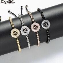 Pipitree медный белый кубический цирконий 26 Алфавит начальные браслеты для женщин мужчин 4 мм бусины плетение брасле в виде букв A-S ювелирные изделия
