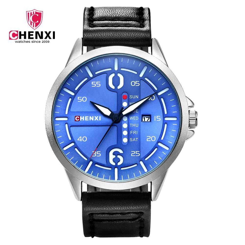 CHENXI Quartz Watches Men Leather Bracelet Strap Watch Top Brand Luxury Male Date Clocks Gifts Wristwatches High Quality NATATE chenxi steel strap tachymeter quartz watch