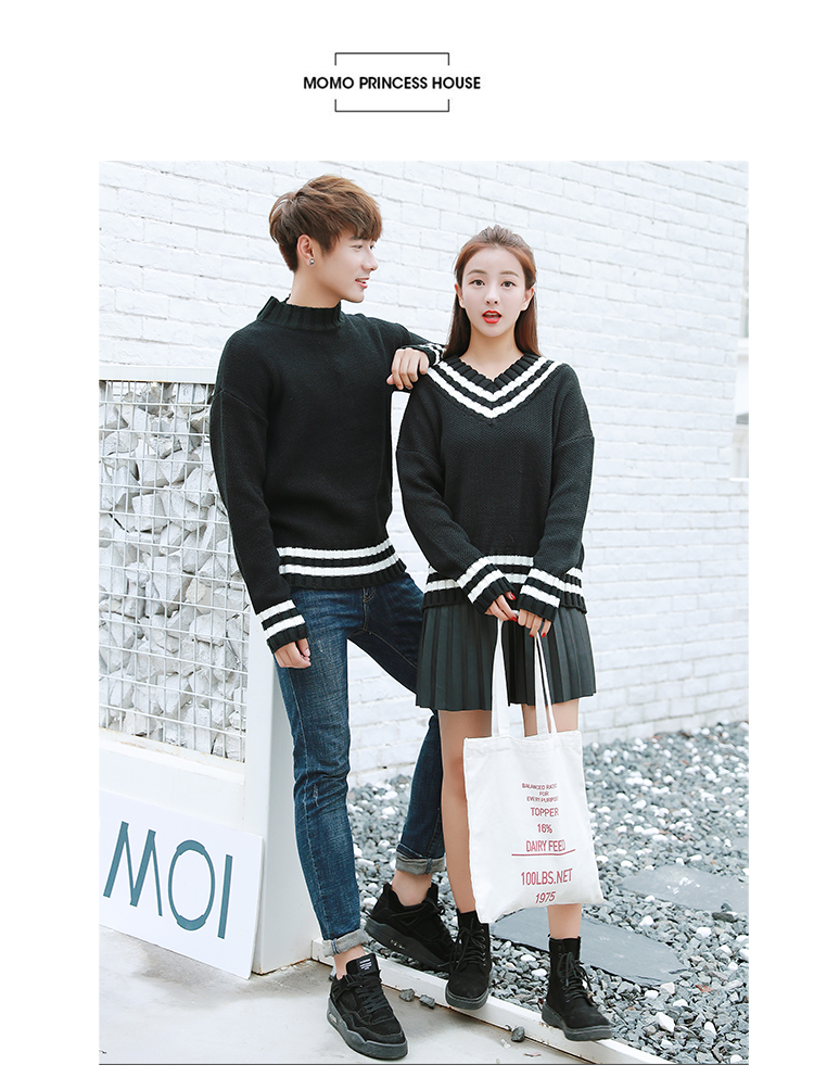 46f0928ba9 Matching His and Hers Outfits Preppy Style Boyfriend Girlfriend Striped V  Neck Sweater Cute Sweet Black Knit Couple Sweaters ...