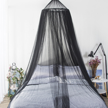 European Style Decoration Bed Mantle Round Hung Dome Mosquito Net Black Lace Curtain Red Wedding Princess Fairy Canopy