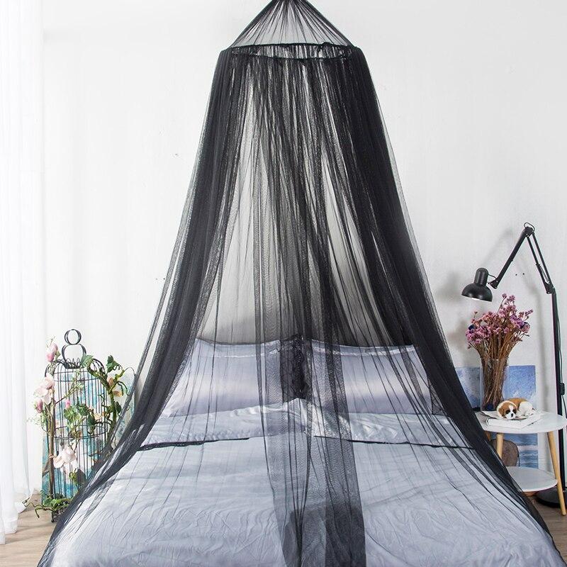 Style européen décoration lit manteau rond suspendu dôme moustiquaire noir dentelle rideau de lit rouge mariage princesse fée Style auvent