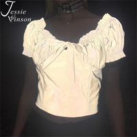 Jessie Vinson Short Sleeve Ruffles Reflective Blouse Top Women Summer Tie up Fluorescent Tunic Top Hip Pop Blouses Night Club