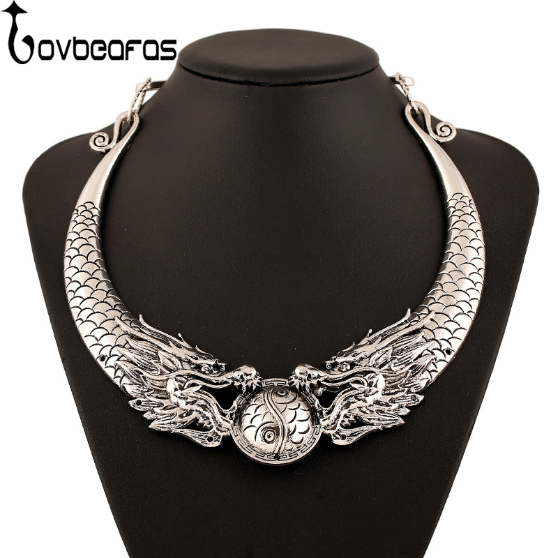 LOVBEAFAS 2018 Fashion Ethnic Vintage Choker Necklace Double Dragon Chinese Element Maxi Necklace Statement Necklace Collares coin fringe statement choker necklace