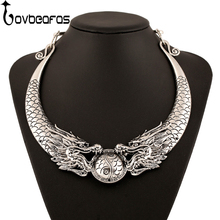 LOVBEAFAS 2018 Fashion Ethnic Vintage Choker Necklace Double Dragon Chinese Element Maxi Necklace Statement Necklace Collares