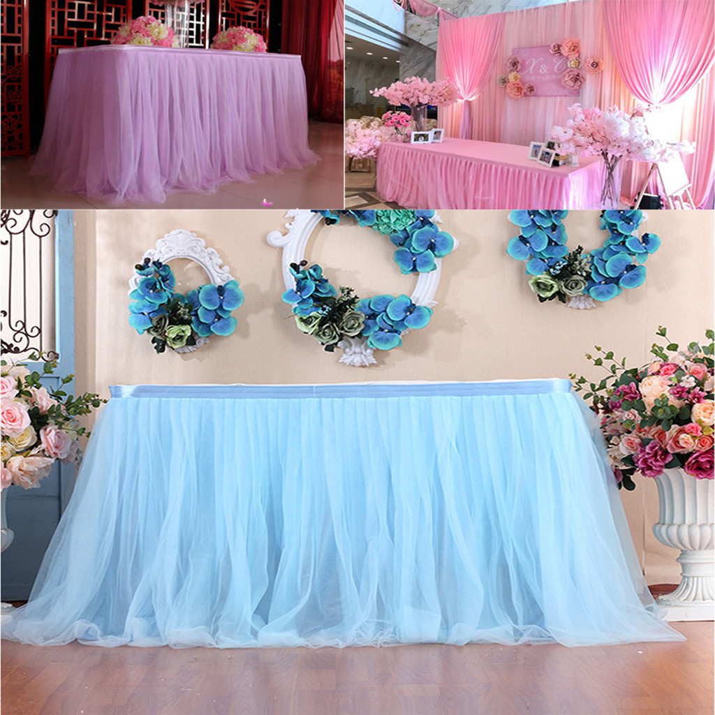 Table Skirt 1P Birthday Wedding Festive Party Decor Table Cloth 200x80cm Table Skirt Waterproof Colorful Tulle Table Skirt Jun13