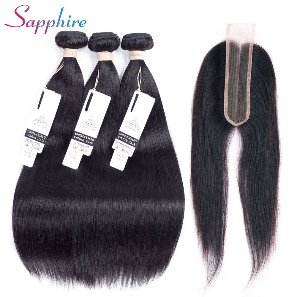 Sapphire hair Brazilian 3pcs Human Hair Weave Bundles With Lace Closure 2 6 Lace Closure Non