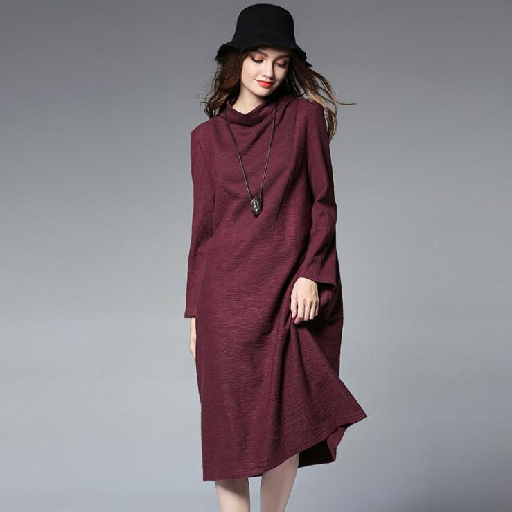 Plue Size Loose Knitted Dress for Women Autumn Winter Mandarin Collar Long Sleeve A-line Dress 4XL Big Size Dress Black Wine red hot sale open front geometry pattern batwing winter loose cloak coat poncho cape for women