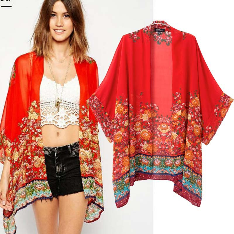 Amour Women Kimono Cardigan Loose Casual Chiffon Blouse Flower ...