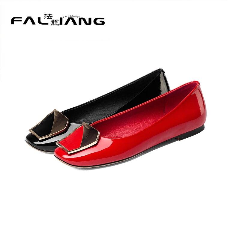 ФОТО 2017 New Genuine Leather Solid Square Toe Flats Big Size 11 12 Metal Decoration women shoes woman ladies womens