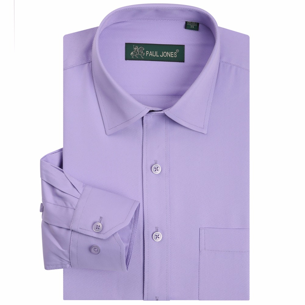 cfb15600179 Men s Solid Color Dress Shirts Twill Long Sleeve Formal Business Shirt  Classic Style Social Shirt Office Wear Plus Size