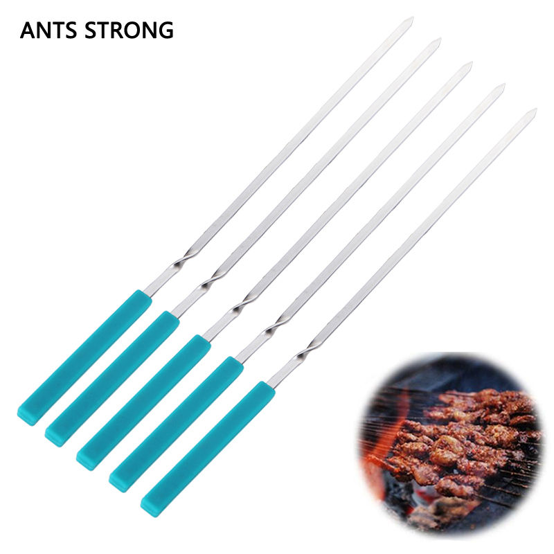 ANTS STRONG 5pcs/set long handle barbecue fork/outdoor camping stainless steel silicone handle bbq roasting needle