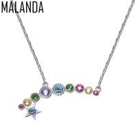 MALANDA Brand Fashion S 925 Sterling Silver Star Pendant Round Crystals From SWAROVSKI Necklaces For Women