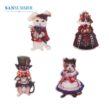 SANSUMMER New Brooch For Women Creative Cartoon Cute Cat Series Metal Jewelry Badge Fashion Fun Gift 020