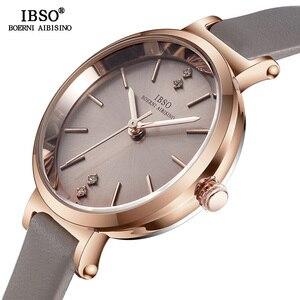 Image 2 - IBSO Kadın Saatler 8 MM Ultra Ince Kol Saati Lüks Kadın Saat Moda Montre Femme Kuvars Bayanlar İzle Relogio feminino