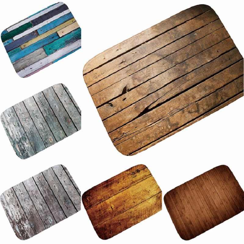 Felpudos de pasillo y alfombras para salón Tapete de cocina de grano de madera Retro Para alfombra para puerta de entrada