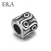 4pcs Stainless Steel Bead Circle 5mm Hole for Leather Jewelry Bracelet Making Metal European Beads DIY Supplies Parts