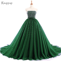 Long Prom Dress Elegant Boat Neck Sparkly Beaded Bling Bling Crystals Ball Gown Puffy African Emerald