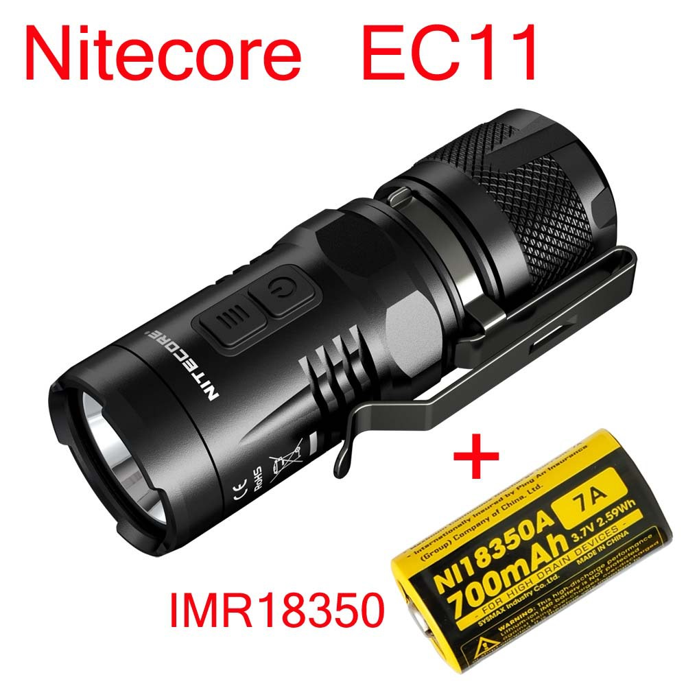 2015 Nitecore EC11 CREE XM-L2 U2 LED 900 люмен фонарик Водонепроницаемый спасательной Поиск факел + imr18350 700 мАч Батарея