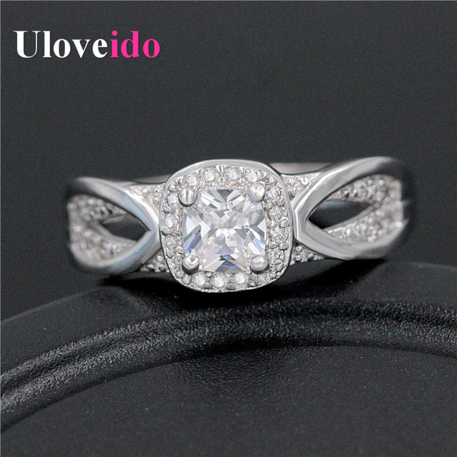 New Arrival Platinum Plated Wedding Ring for Women 2016 Party Jewelry Zircon Size 6 7 8 9 CZ Diamond Rings Uloveido WX009