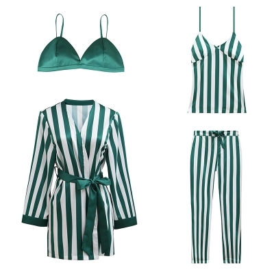 2018 New Design Women's Satin Pajamas Sets Robe+Bras+Suspender+Trousers 4Pcs Suits Female Sexy Striped Pijamas Luxury Homewear