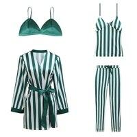 2018 New Design Women's Satin Pajamas Sets Robe+Bras+Suspender+Trousers 4Pcs Suits Female Sexy Striped Pijamas Luxury Homewear