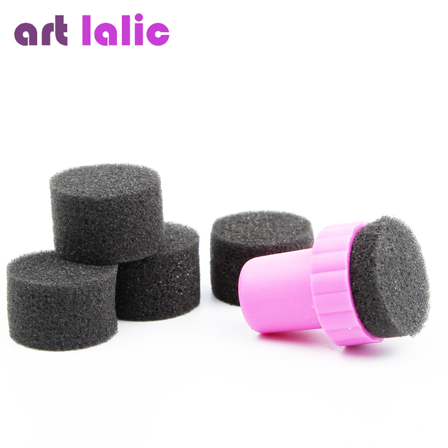 5pcs Cute Nail Art Sponge Stamp Gradient Color Stamping Polish Template Transfer Manicure For