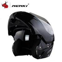 NENKI Safe Flip Up Motorcycle Helmet Capacete De Moto With Inner Sun Visor Black Motorcycle Racing