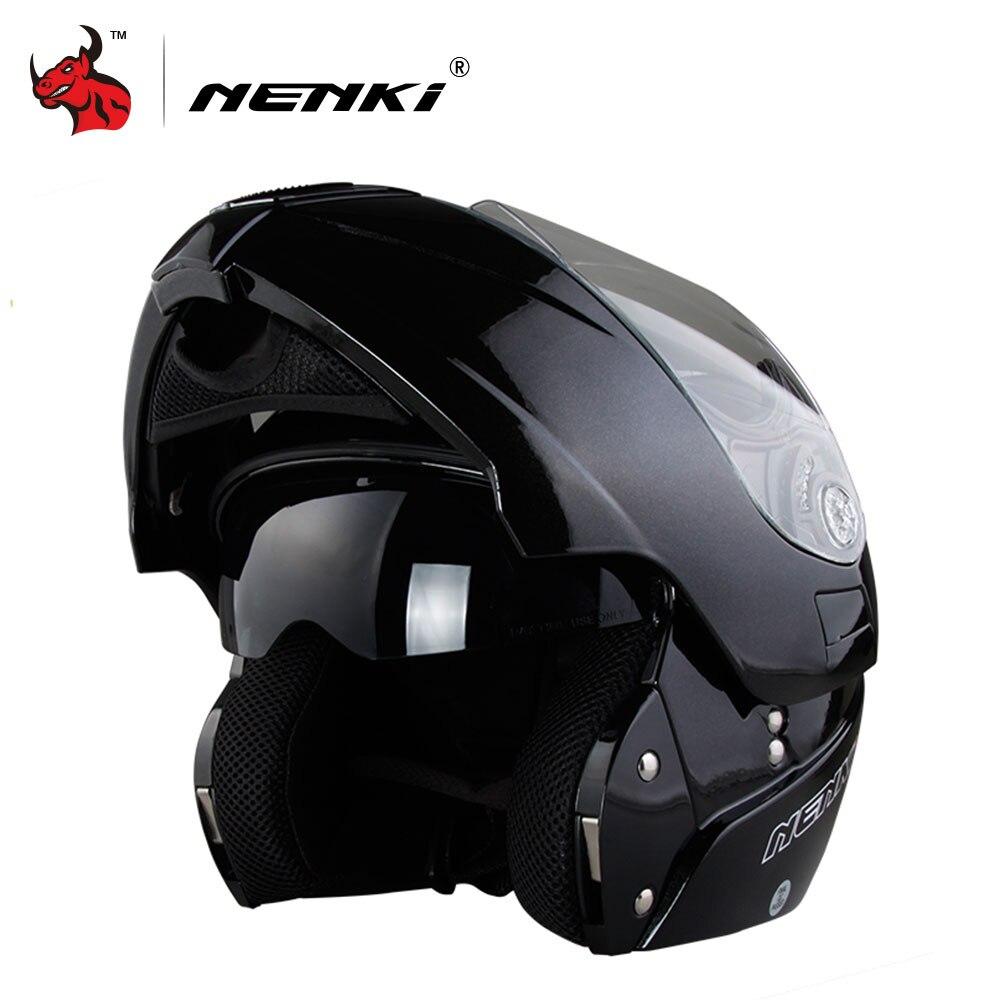 NENKI безопасный флип мотоциклетный шлем Capacete де Moto с внутренним Защита от солнца козырек черные мотоциклетные гонки Off Road шлем