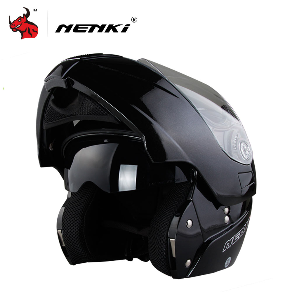 NENKI Safe Flip Up Motorcycle Helmet Capacete De Moto With Inner Sun Visor Black Motorcycle Racing Off Road Helmet free shipping 2015 new flip up motorcycle helmet double lens inner sun visor dot approved casco capacete