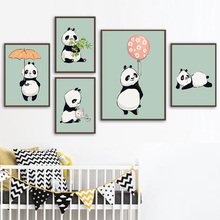 Cartoon Panda Bamboo Balloon Nordic Posters And Prints Watercolor Wall Art Canvas Painting Nursery Pictures Kids Room Decor